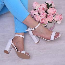 Босоножки женские белые кожаные на каблуке 9 см. 35-41 размер. Цвет кожи на выбор