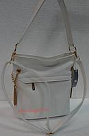 Женская сумочка с кокеткой  белая