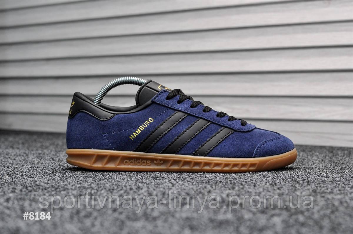 Мужские кроссовки Adidas Hamburg Navy Blue (реплика)