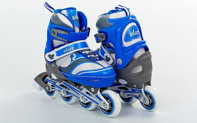 Коньки роликовые раздвижные ENJOYMENT Zelart синие