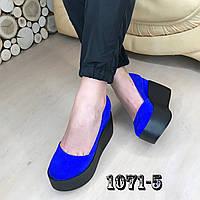 Замшевые туфли на maxi платформе синие, фото 1