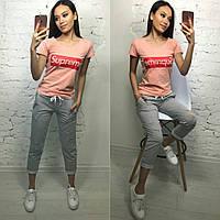 Костюм стильный с футболкой, серый+пудра, фото 1