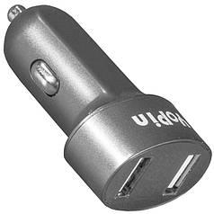 Универсальное авто зарядное Yopin CC-017 USB x 2 серое (2.1А/1А) в автомобиль microUSB планшет быстрый заряд
