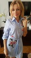 Платье-рубашка Орхидея голубое