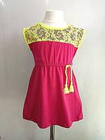 Платье летнее с кружевом неон 1-5лет