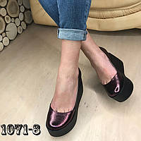 Кожаные туфли на maxi платформе бордовые, фото 1