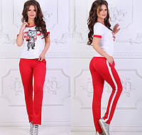 Женский спортивный комплект в стиле Supreme, материал - трикотаж, красно-белый