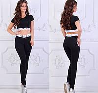 Женский спортивный комплект в стиле Gucci, материал - трикотаж, хаки