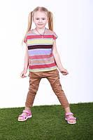 Детская футболка для девочек в полоску,14POLOSKA  р. 110, Серая