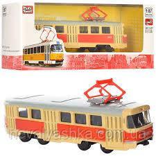 Трамвай Красный металлический Автопарк инерционный, PLAY SMART 6411A, 003139
