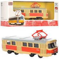 Трамвай Красный металлический Автопарк инерционный, PLAY SMART 6411A, 003139, фото 1