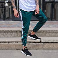 Спортивные штаны с лампасами мужские ТУР Rocky зелёные с белым, фото 1