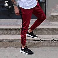 Спортивные штаны с лампасами мужские ТУР Rocky, бордовые, фото 1