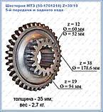 Шестерня МТЗ (50-1701218) Z=39/19 5-й передачи и заднего хода  , фото 2