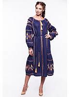 Сукня жіноча Василиса (льон синій)
