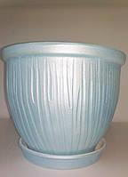 Горшок керамический для цветов, голубой, d 19,5, h 16,5, 3 л, Украина