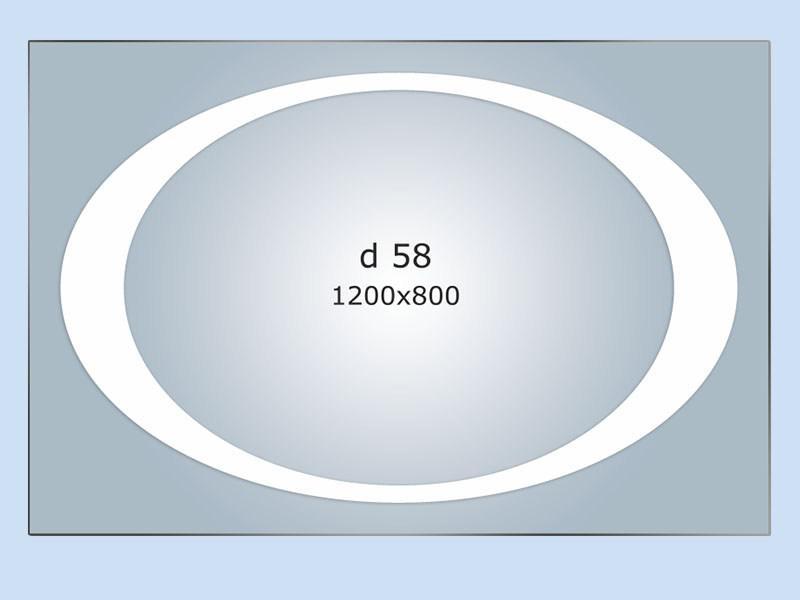 Зеркало с LED подсветкой 1200*800 с рисунком D58 с включателем кнопкой