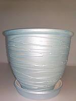 Горшок керамический для цветов, голубой, d 16,5, h 13,5, 2 л, Украина