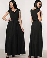 Длинное платье в пол черное макси сарафанлегкоеженскоелетнее шифоновое