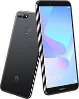 Закаленное защитное 3D стекло (на весь экран) для Huawei Y7 (2018) (Черное)