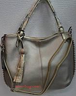 Мягкая женская сумка с бусинками золотистая