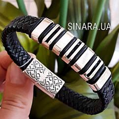 Мужской серебряный браслет с черной плетеной кожей - Мужской браслет кожа и серебро 925