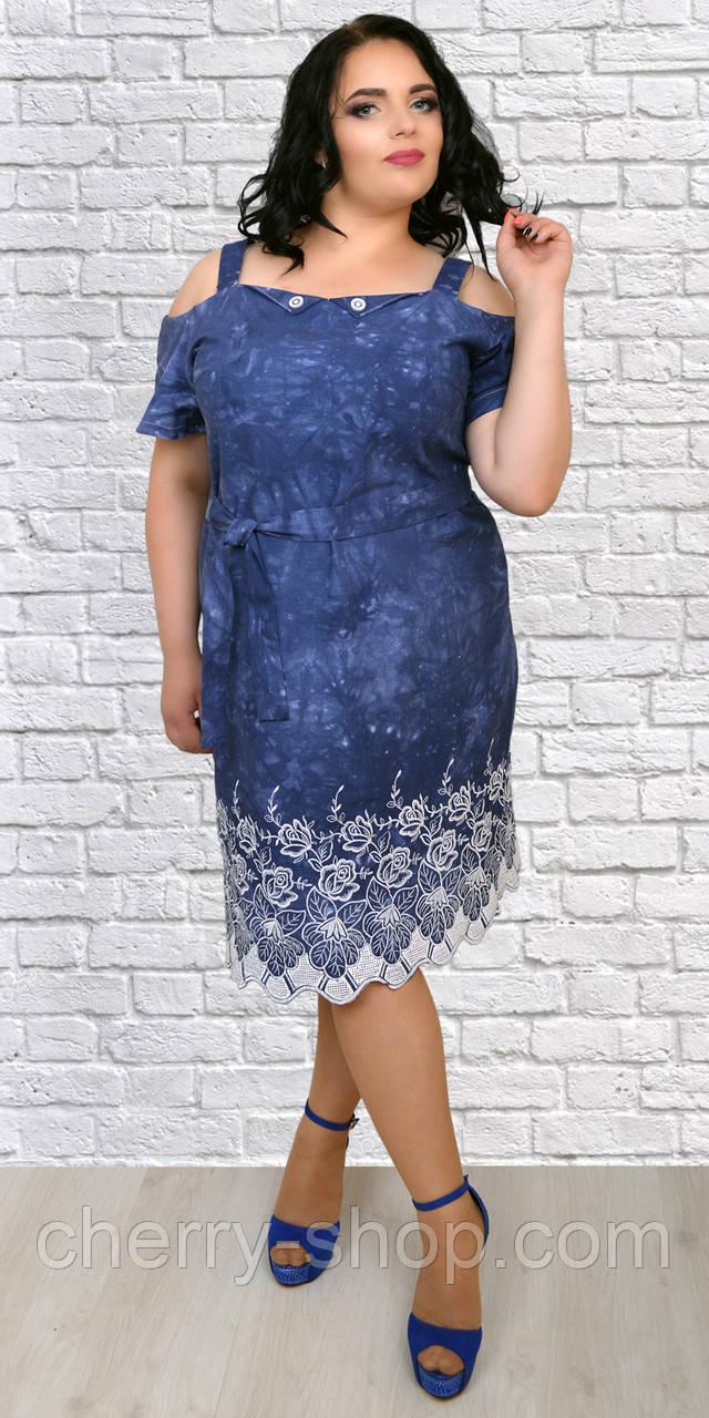 74c53f0c3729eef Красивое летнее платье из льна украшено вышивкой - Интернет-магазин