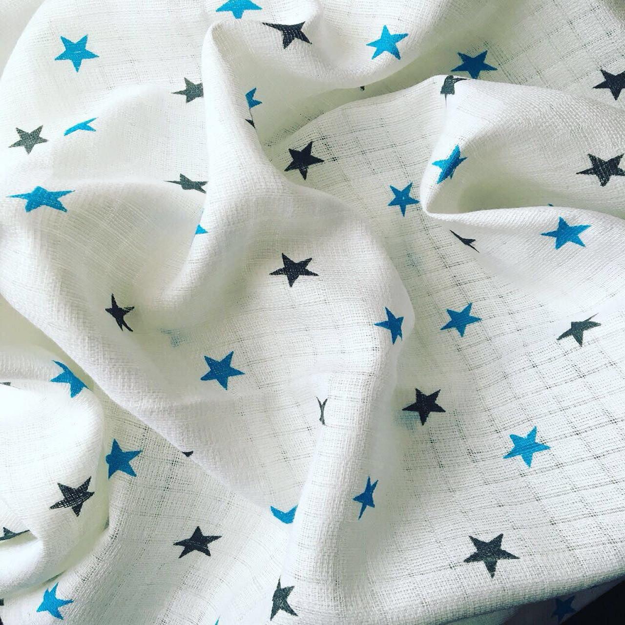 Муслин для пеленок звезды серо-бирюзовые
