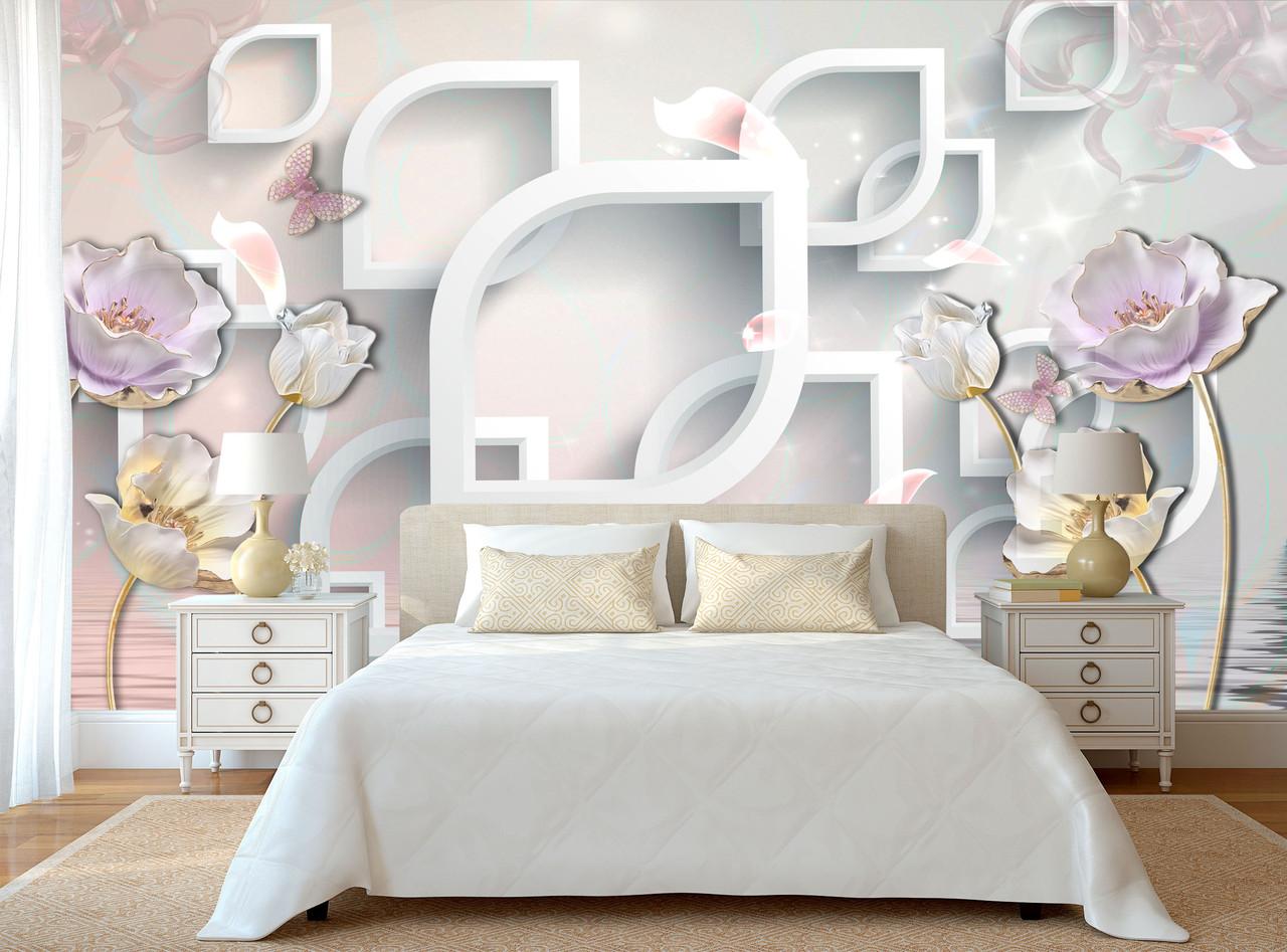 стереоскопические 3д фотообои в спальню нежные цветы продажа