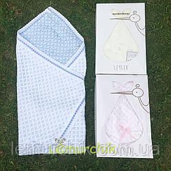 Конверт-плед для новорожденных Премиум на выписку и в коляску легкий Leylekголубой