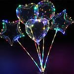 """Светодиодный шар бобо bobo 19"""", Воздушный светящийся на палочке с гирляндой в комплекте,3 режима,3 батарейки"""