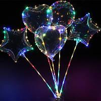 Светящийся воздушный шар на палочке с гирляндой в комплекте,3 режима,3 батарейки,Светодиодный шар bobo, фото 1