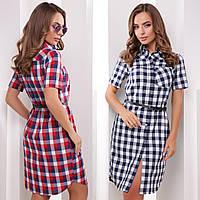Хлопковое платье-рубашка в клетку с ремешком и короткими рукавами, фото 1
