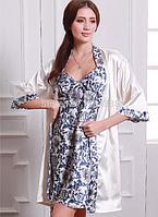 Комплект сорочка и халат сине-белый