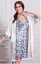 Комплект сорочка и халат сине-белый, фото 3