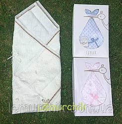 Конверт-плед для новорожденных Премиум на выписку и в коляску легкий Leylekмолочный