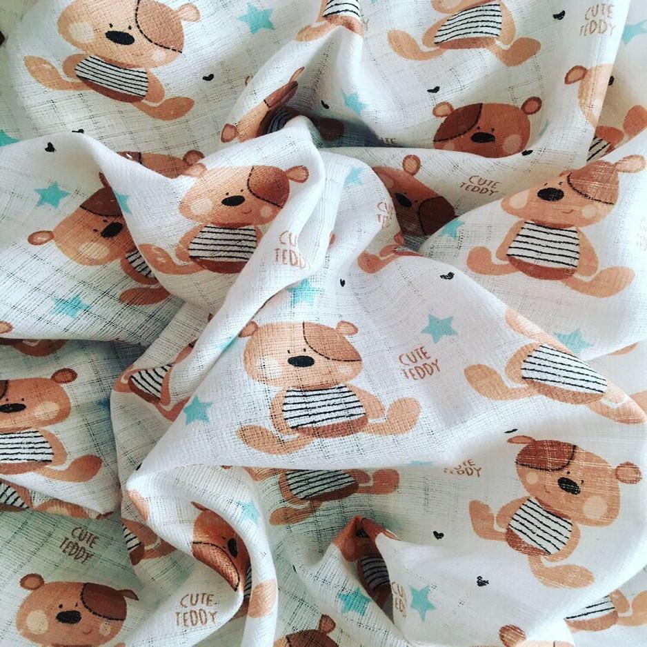 Муслін для пелюшок ведмедики ТЕДДІ коричневі на білому