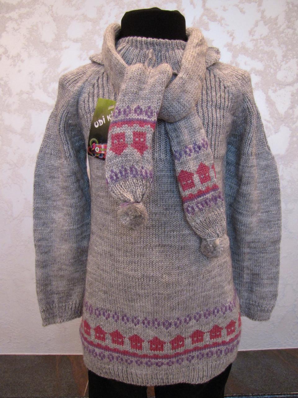 Туника вязанная с гетрами и шарфиком для девочек 1-4 года Домики