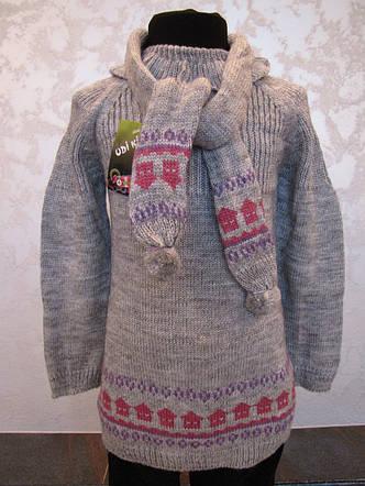 Туника вязанная с гетрами и шарфиком для девочек 1-4 года Домики, фото 2