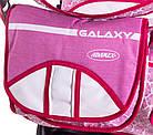 Коляска трансформер Adamex Galaxy  малина (маки)-белая кожа, фото 3