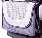 Коляска трансформер Adamex Young 189G св.серый лен-белая кожа-белый серая гусиная лапка, фото 3