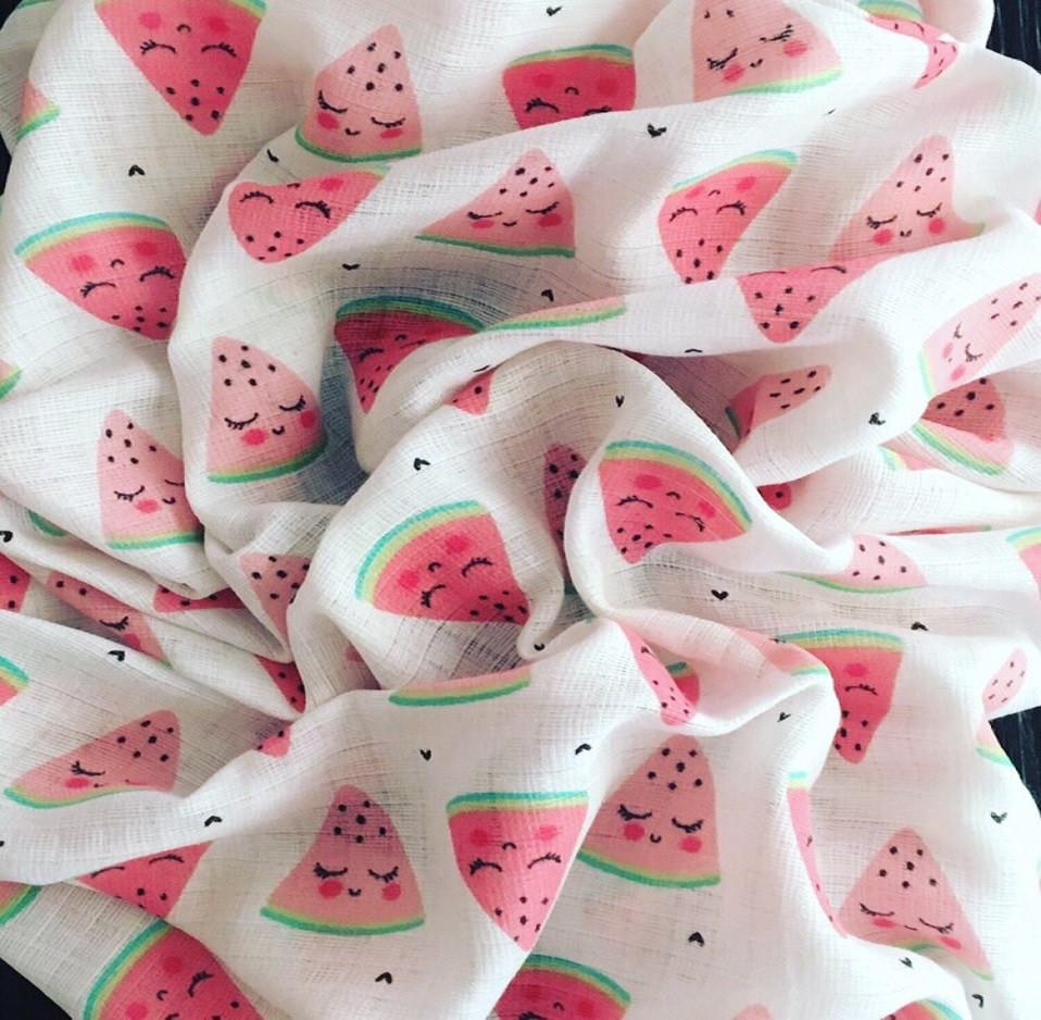 Муслин для пеленок красные дольки арбуза на белом