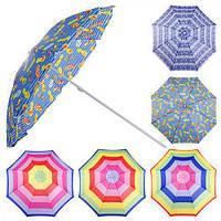 Зонт пляжный MH-1097 полиэстер, d2.2м, разные цвета, пляжный зонтик, зонт на море, зонт от дождя