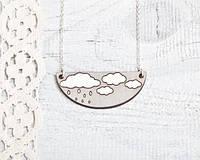 Кулончик ручной работы Облако серый дерево, фото 1
