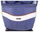 Коляска 2 в 1 Adamex Monte Deluxe Carbon D33 св.синий джинс - белая кожа -рыжий кант (рыжая ручка), фото 8