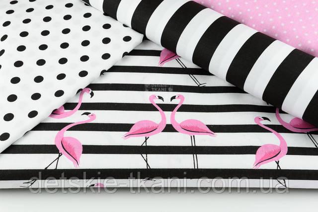 Фламинго на чёрной полоске