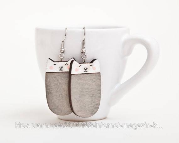 Сережки ручной работы Коты серебристый дерево