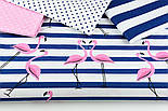 """Ткань хлопковая """"Фламинго на синей полоске"""" (№1389), фото 7"""