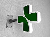 """Крест для аптеки несветовой """"ТАЙЛАНД"""" 600х600 мм (Цвет корпуса: Белый корпус;  Цвет стального каркаса: Белый;)"""