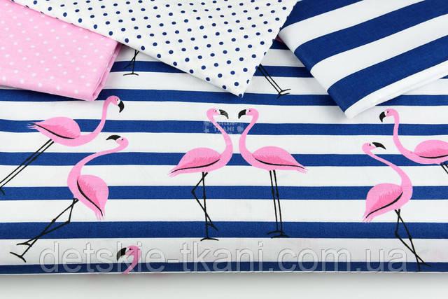 Фламинго на синей полоске